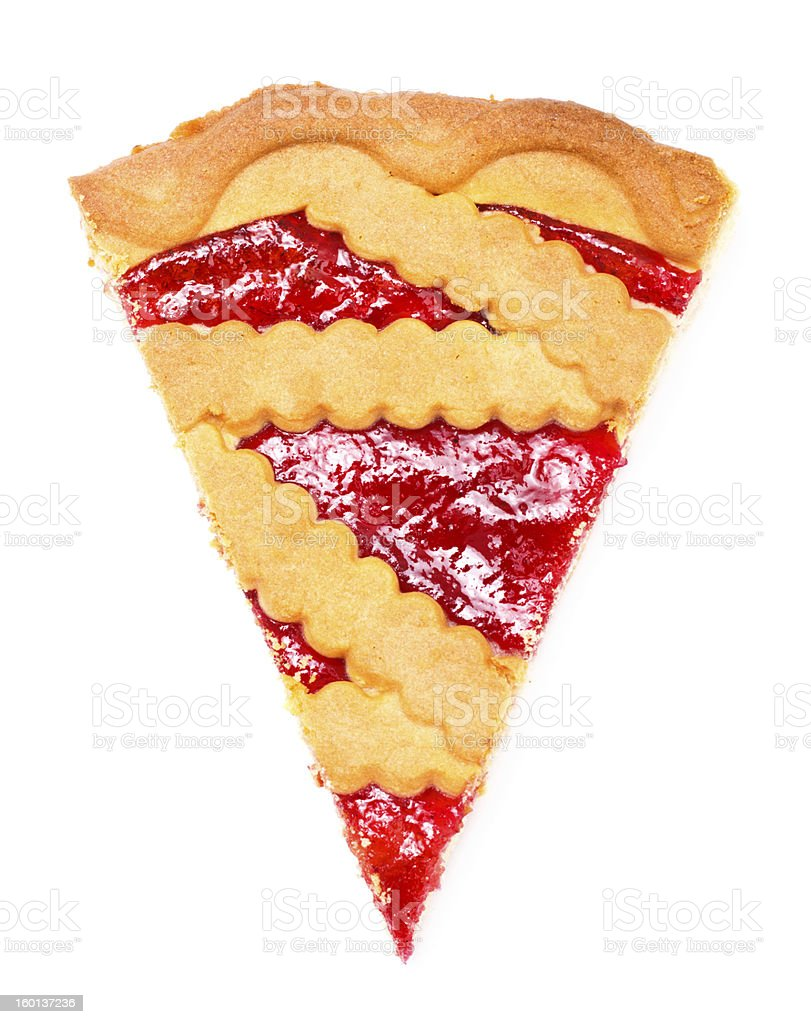 A slice of pie with cherry filling stock photo