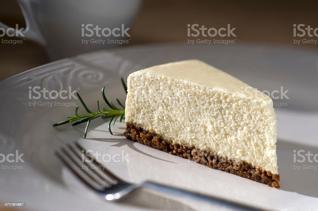 Slice of Plain Cheesecake for Dessert with Coffee XXL royalty-free stock photo