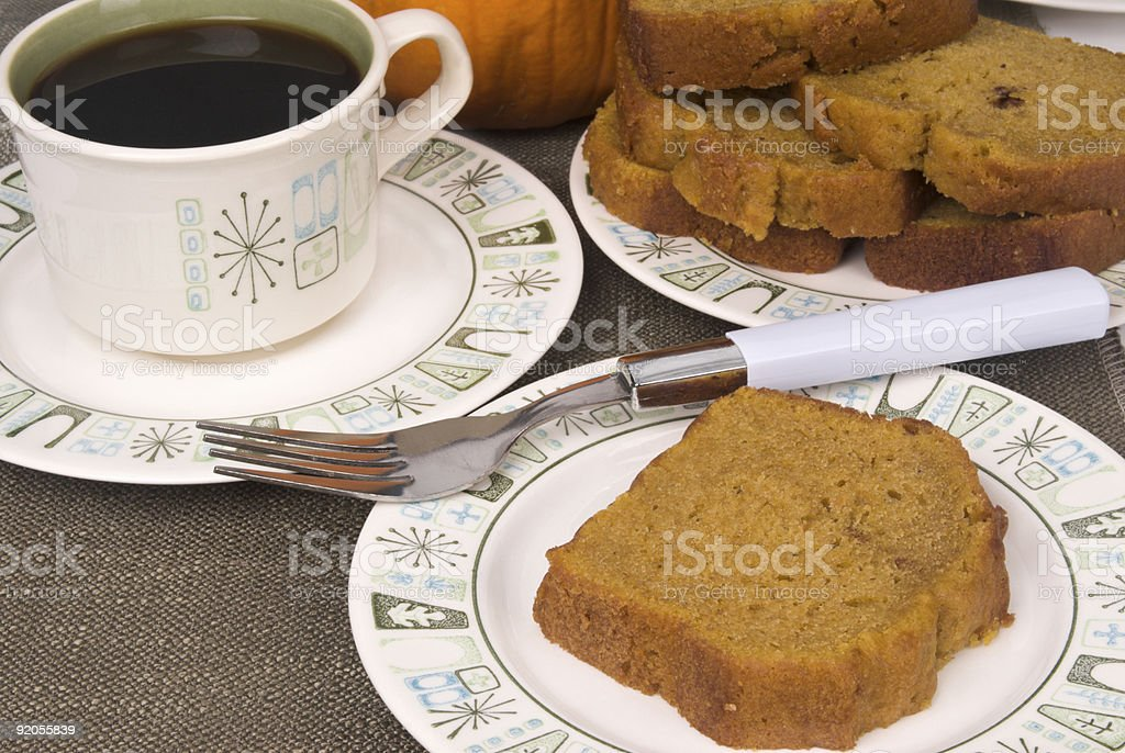 slice of pumpkin cream cake and black coffee antique china royalty-free stock photo