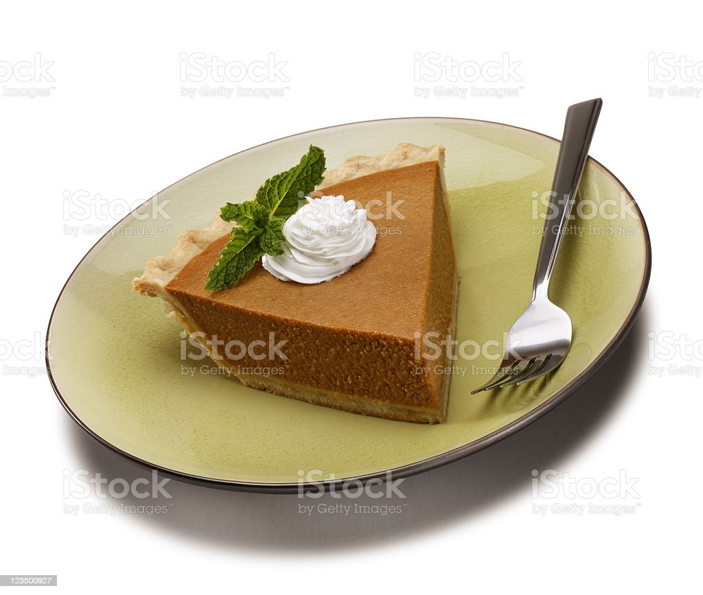 Slice of Pumpkin Pie Isolated on White royalty-free stock photo