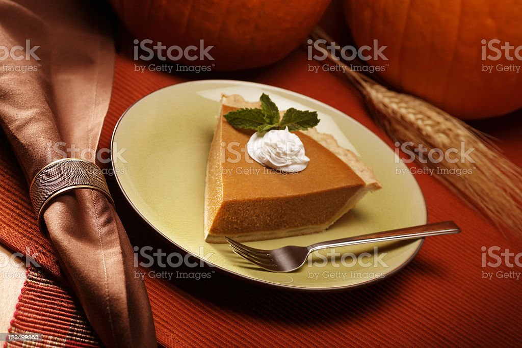 Slice of Pumpkin Pie royalty-free stock photo