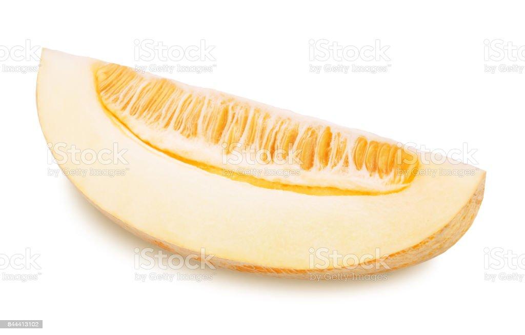 Slice of ripe yellow melon. stock photo
