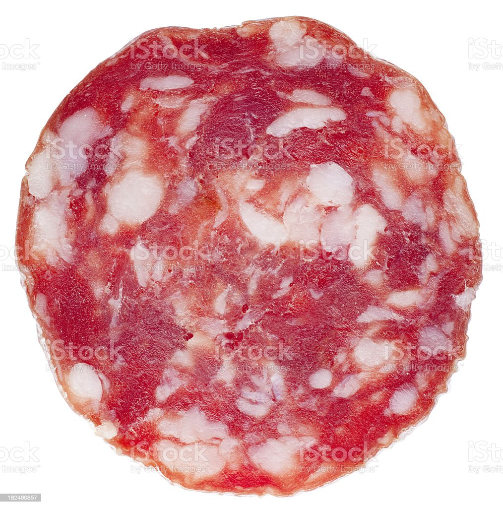 Slice of salami royalty-free stock photo