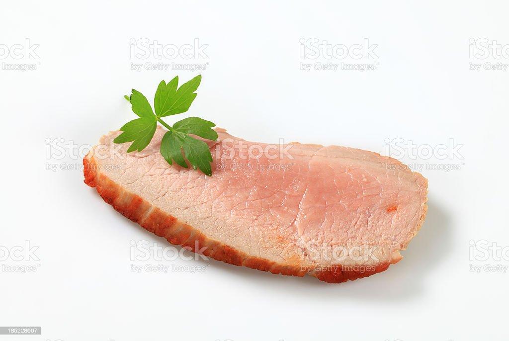 Slice of smoked meat stock photo