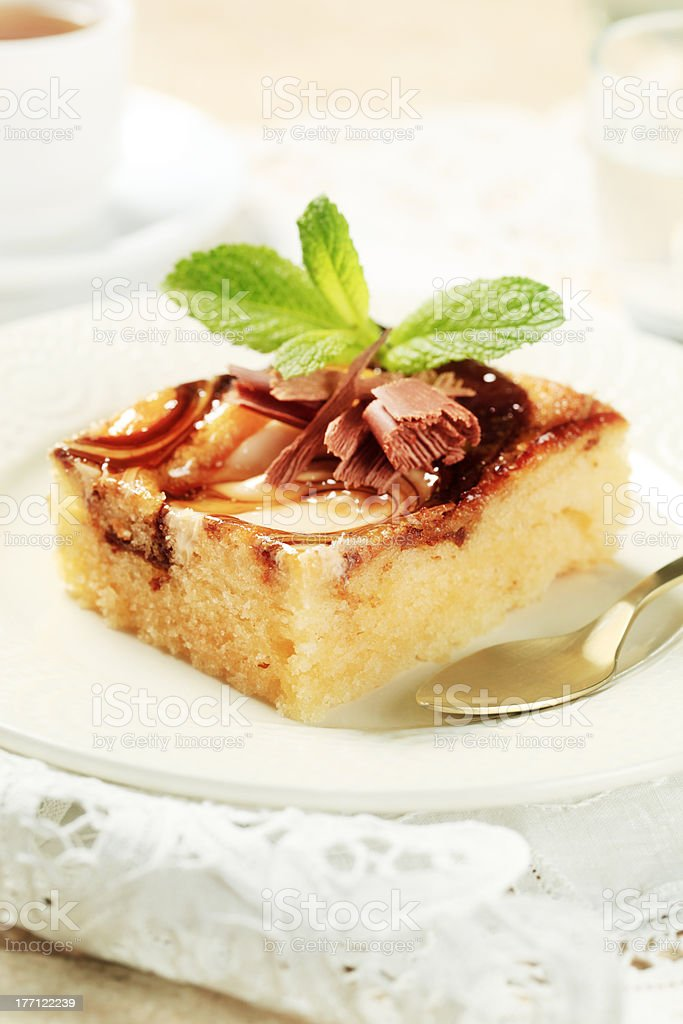 Slice of sponge cake royalty-free stock photo