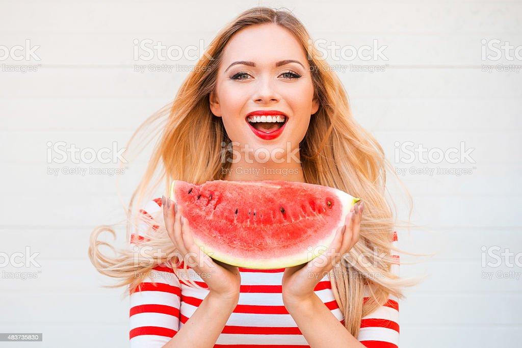 Slice of summer goodness. stock photo