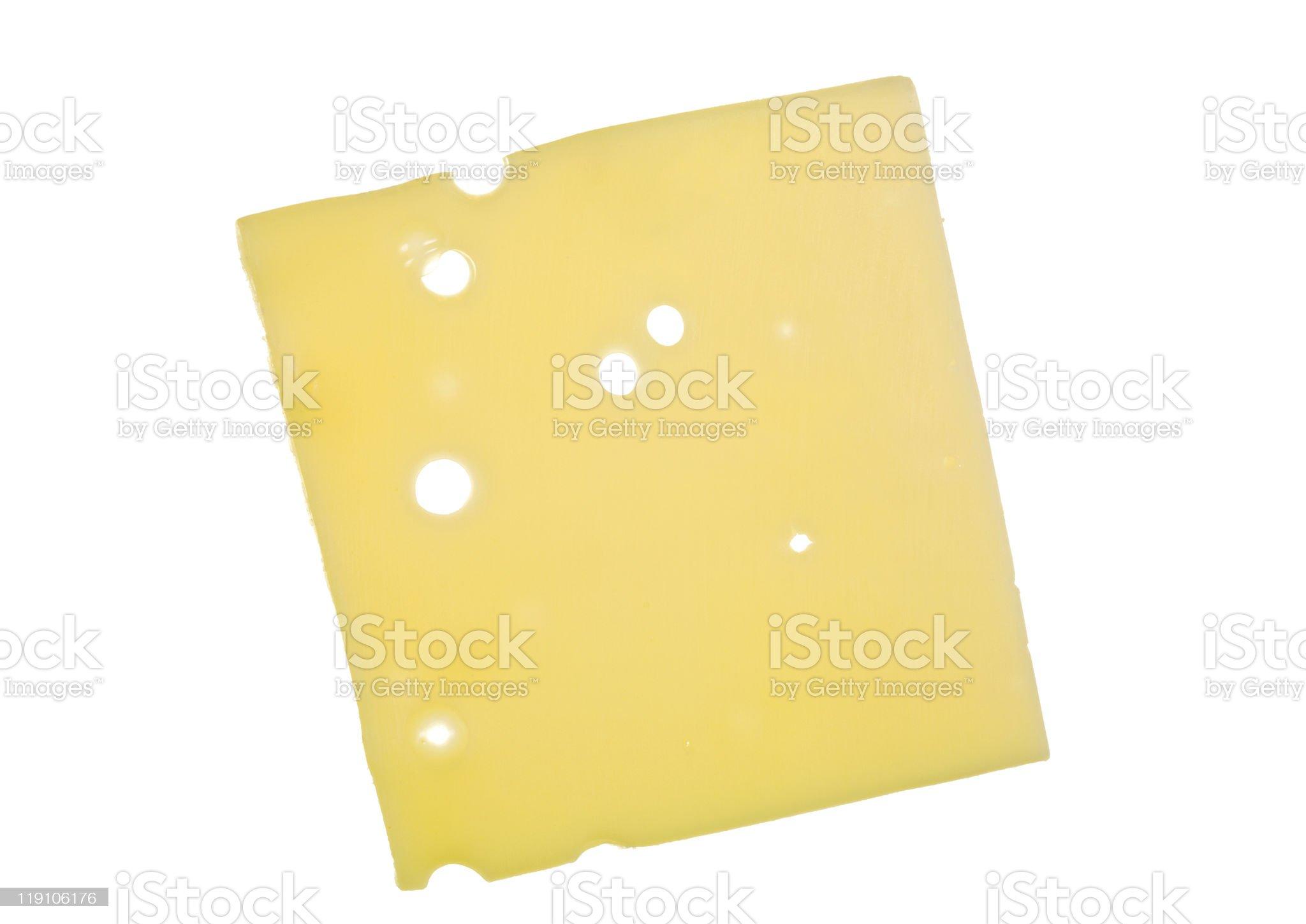 Slice of Swiss Cheese royalty-free stock photo