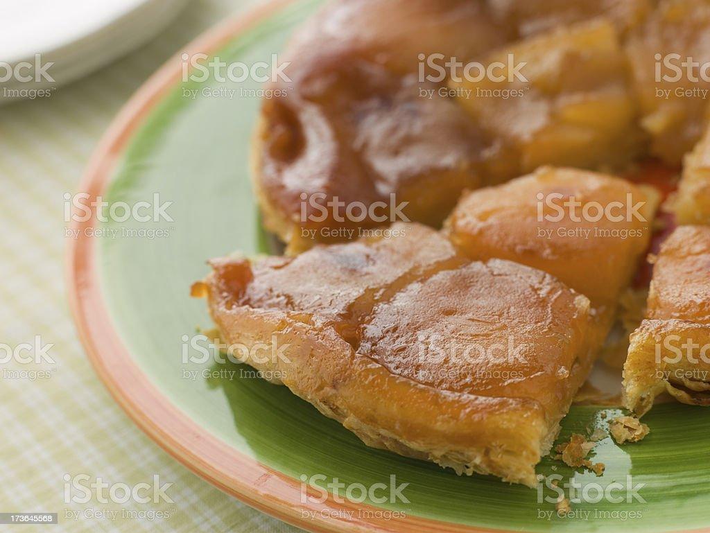 Slice of Tarte Tatin aux Pomme stock photo