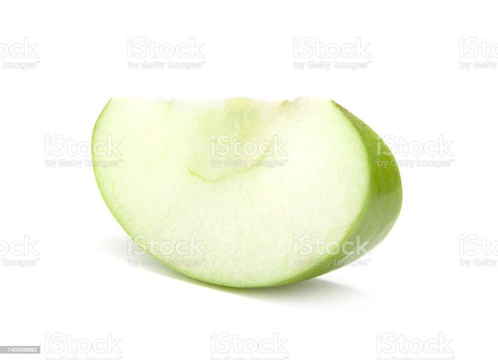 Slice of the green apple stock photo