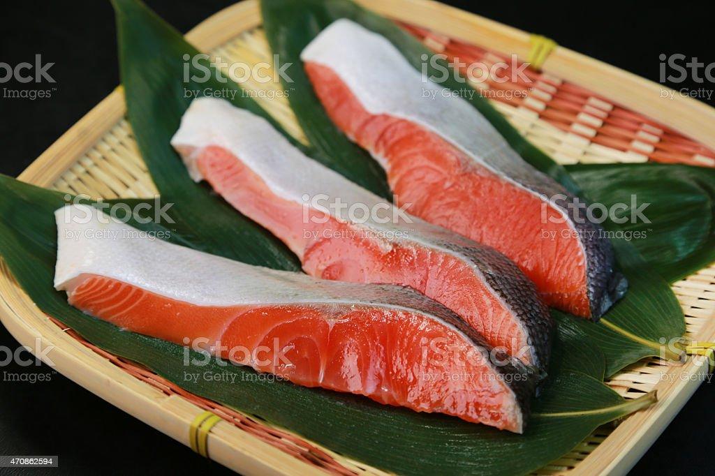 Slice of the salmon stock photo