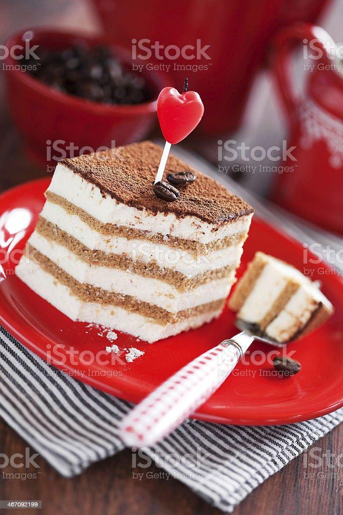 Slice of tiramisu cake royalty-free stock photo