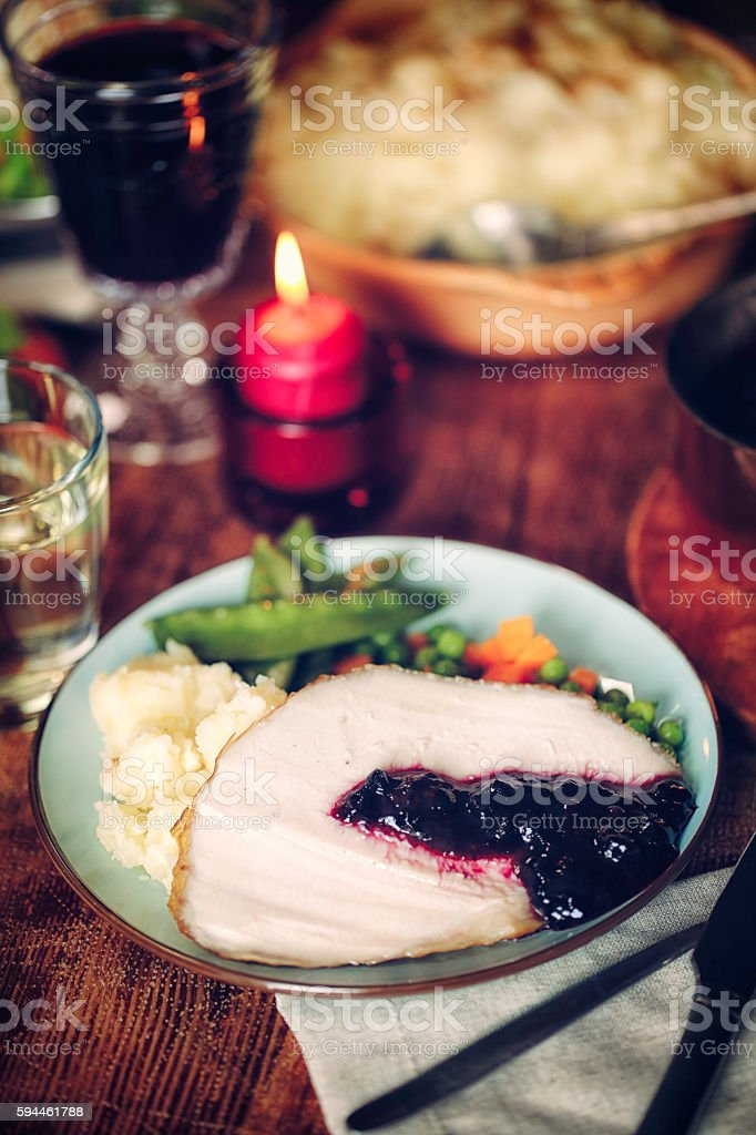 Slice of Traditional Stuffed Turkey  with Vegetables stock photo