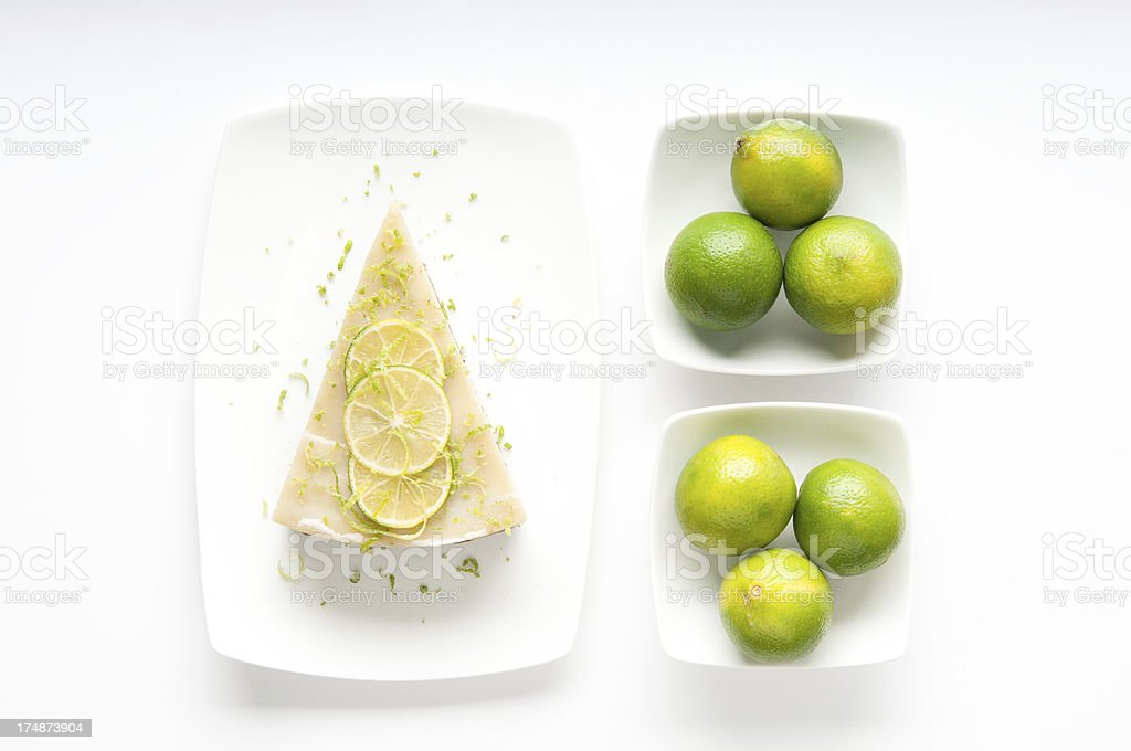 Slice of Vegan Key Lime Pie and KeyLimes in Bowls royalty-free stock photo