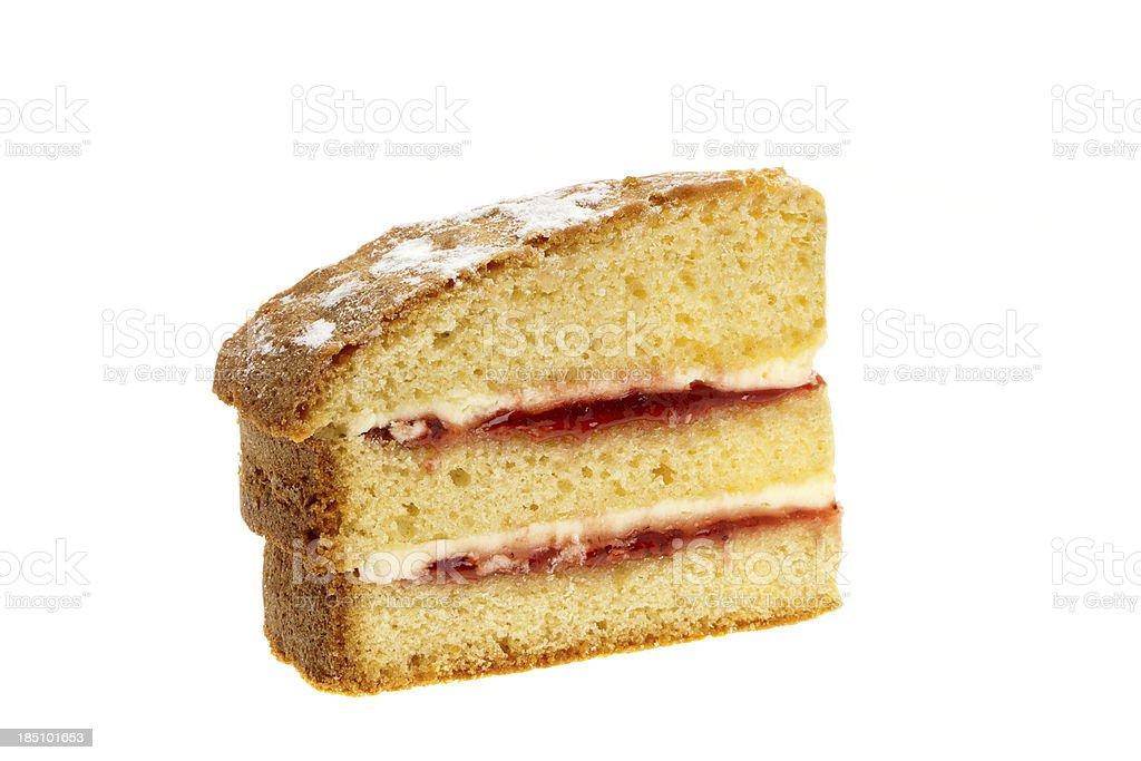 Slice of Victoria sponge cake stock photo