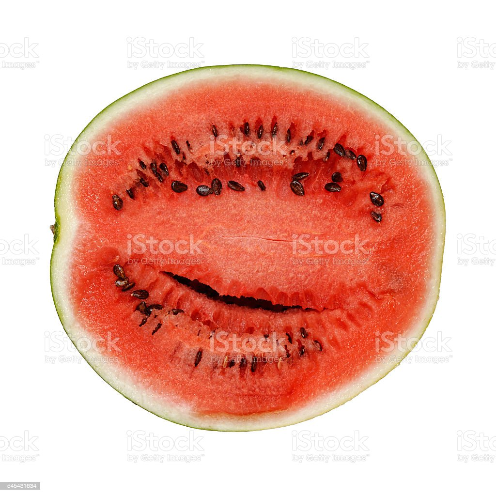Slice of watermelons against white stock photo