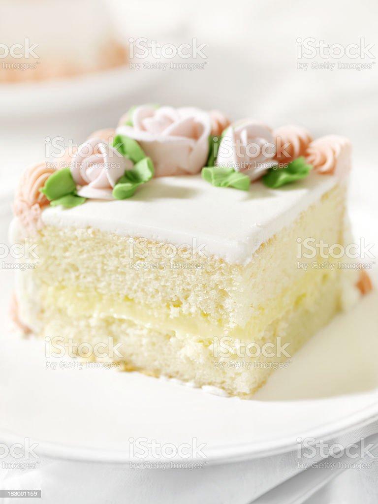 Slice of White Birthday Cake stock photo