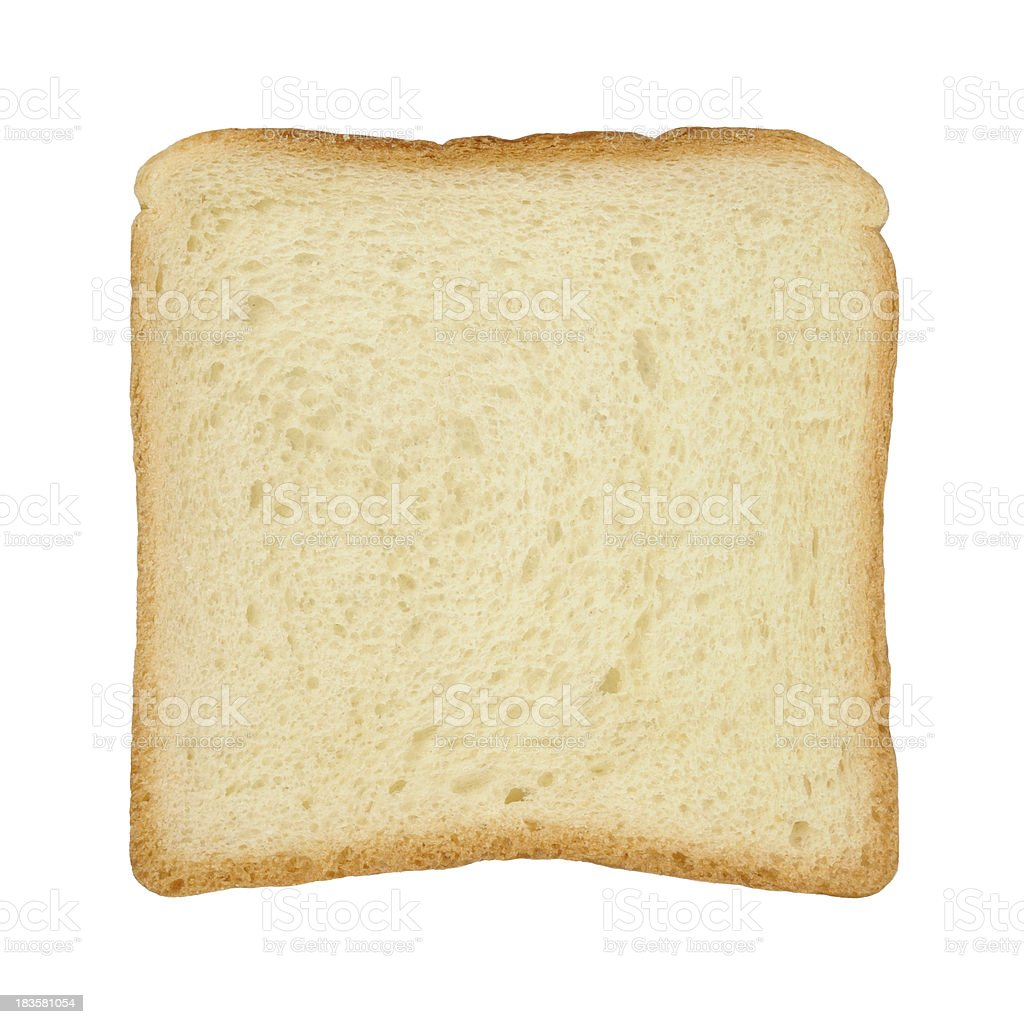 Slice of white tinloaf on white background stock photo