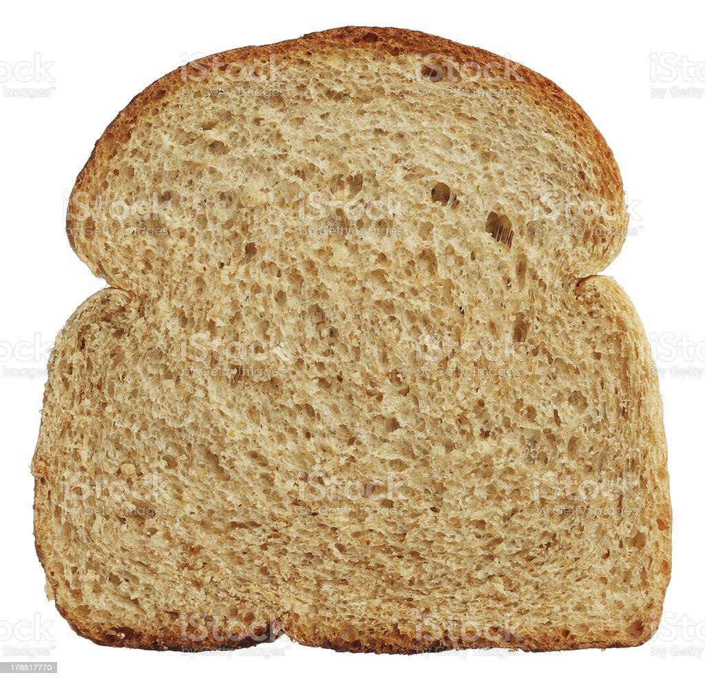 Slice of wholewheat bread isolated on white background stock photo