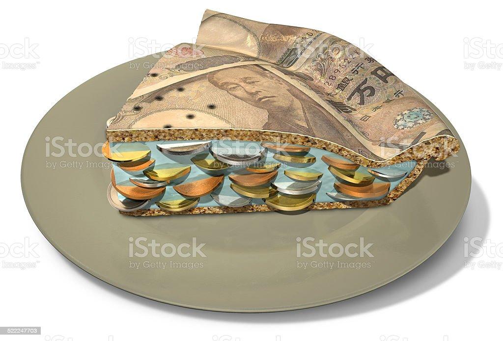 Slice Of Yen Money Pie stock photo
