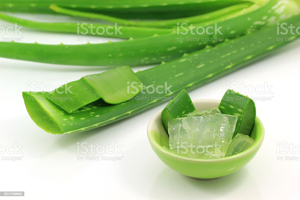 sliced and leaf of fresh aloe vera on white background stock photo