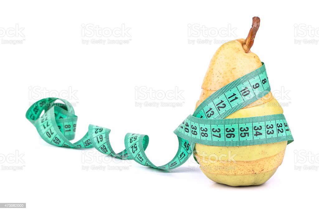 Sliced apple and pear with a meter stock photo