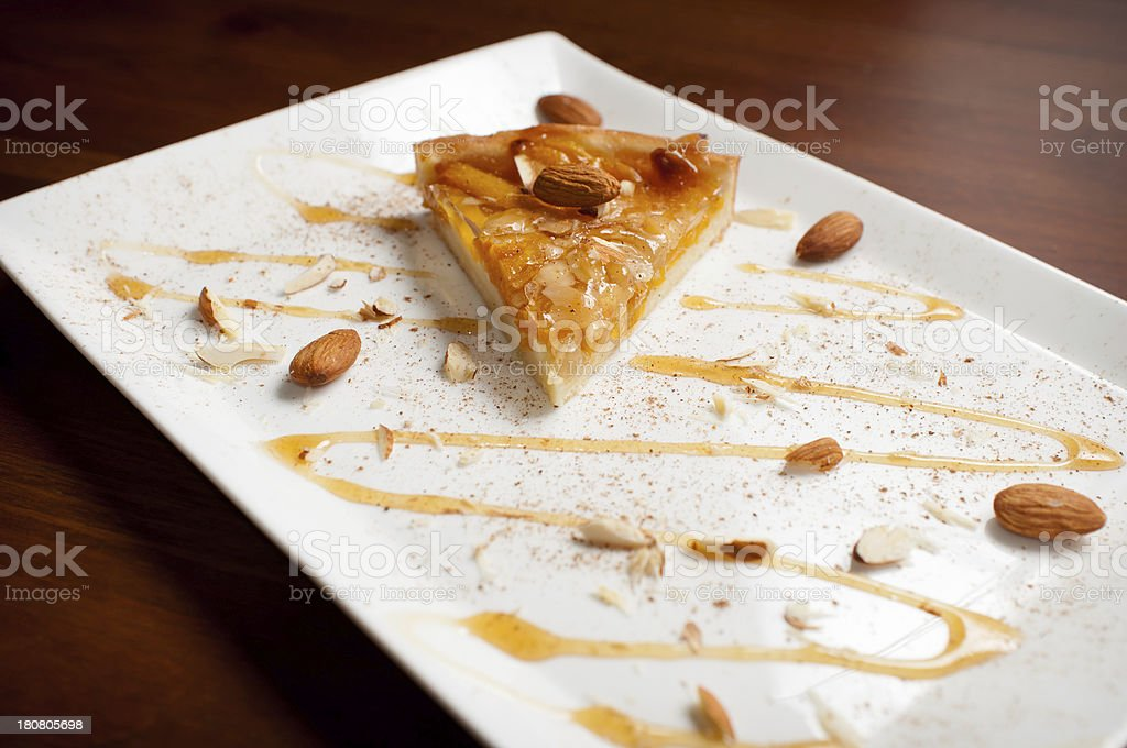 Sliced Apricot Peach Almond Tart with Cinnamon and Honey stock photo