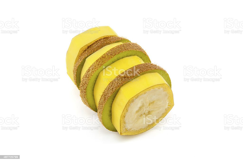 Sliced banana and kiwi stock photo