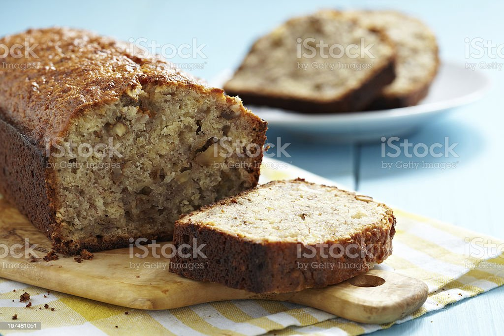 Sliced banana bread with walnuts stock photo