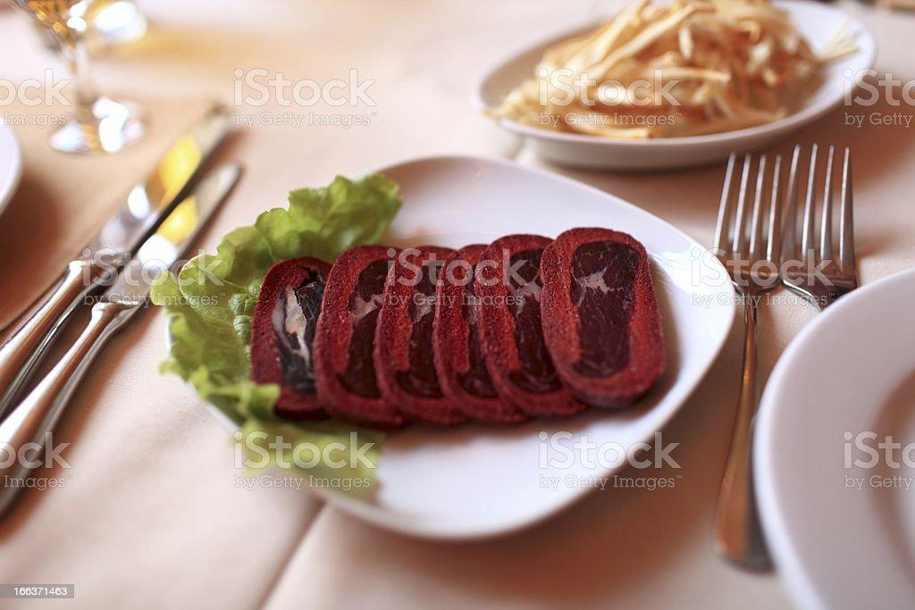 Sliced basturma royalty-free stock photo