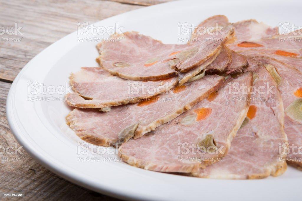 Sliced beef or ham stock photo