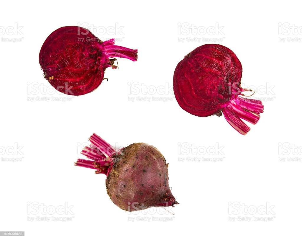 sliced beetroot isolated stock photo