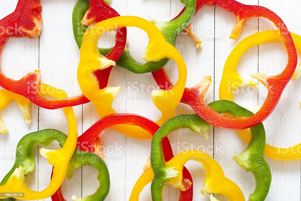 Sliced bell peppers royalty-free stock photo