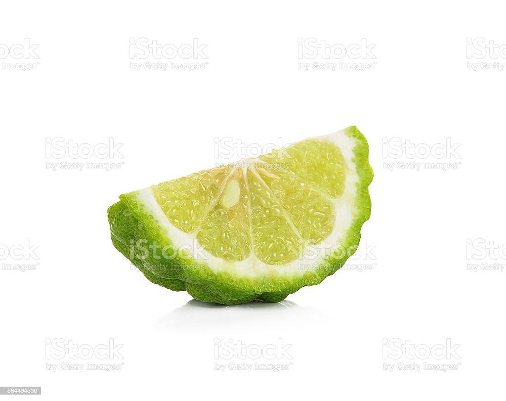 Sliced bergamot isolated on the white background stock photo