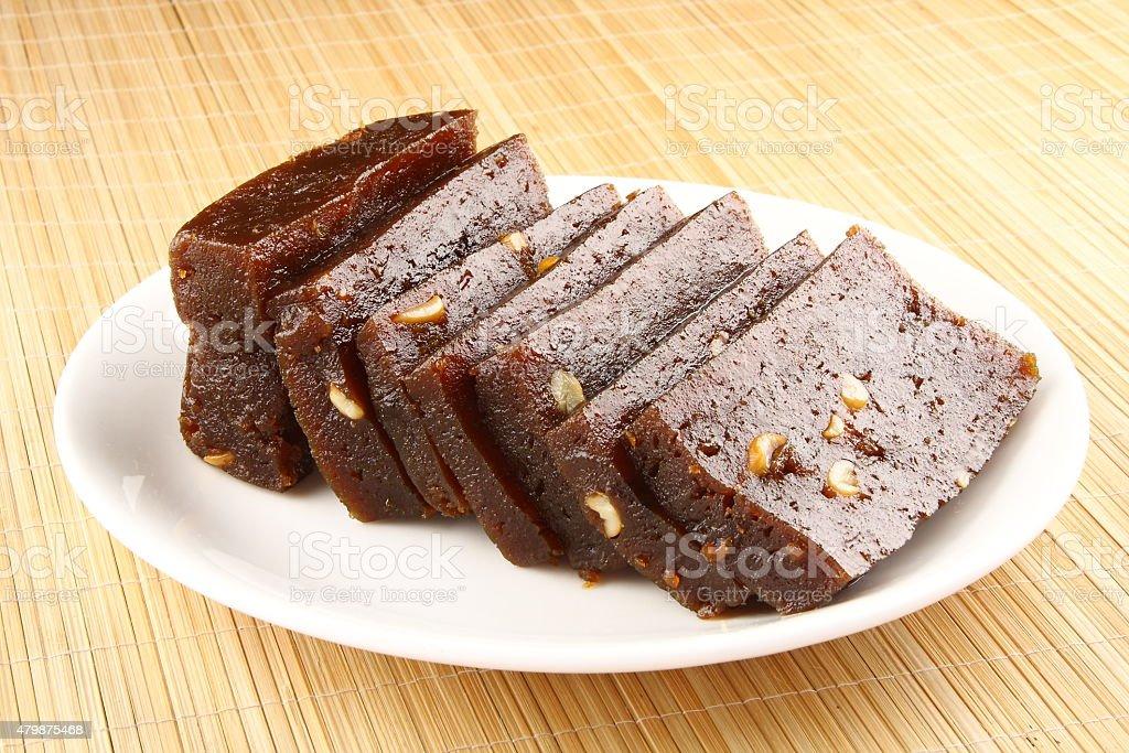 Sliced black Halwa stock photo