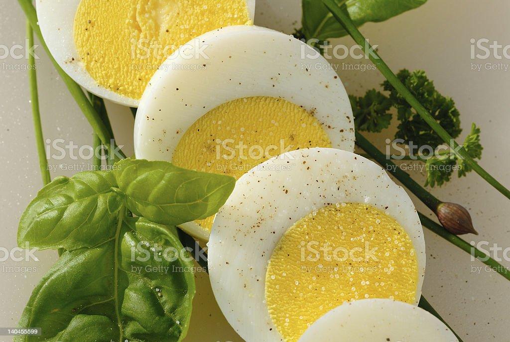 Sliced boiled egg stock photo