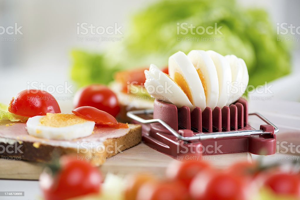 Sliced boiled egg royalty-free stock photo