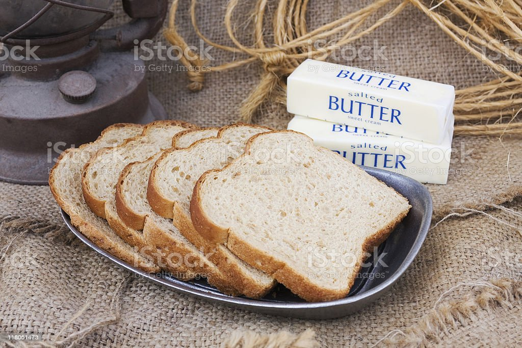 Sliced Bread and Butter royalty-free stock photo