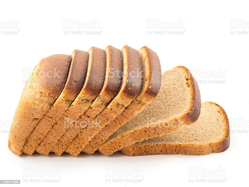 sliced bread isolated on white background stock photo