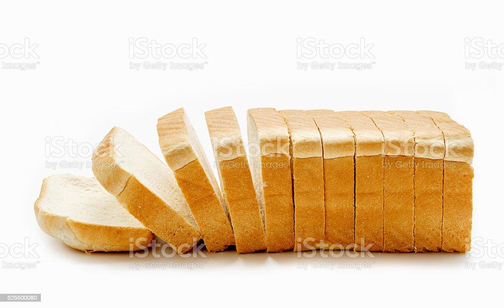 Pão de Forma Fatiado isolado no fundo branco foto royalty-free