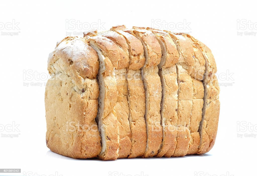 Sliced bread isolated on white background. stock photo