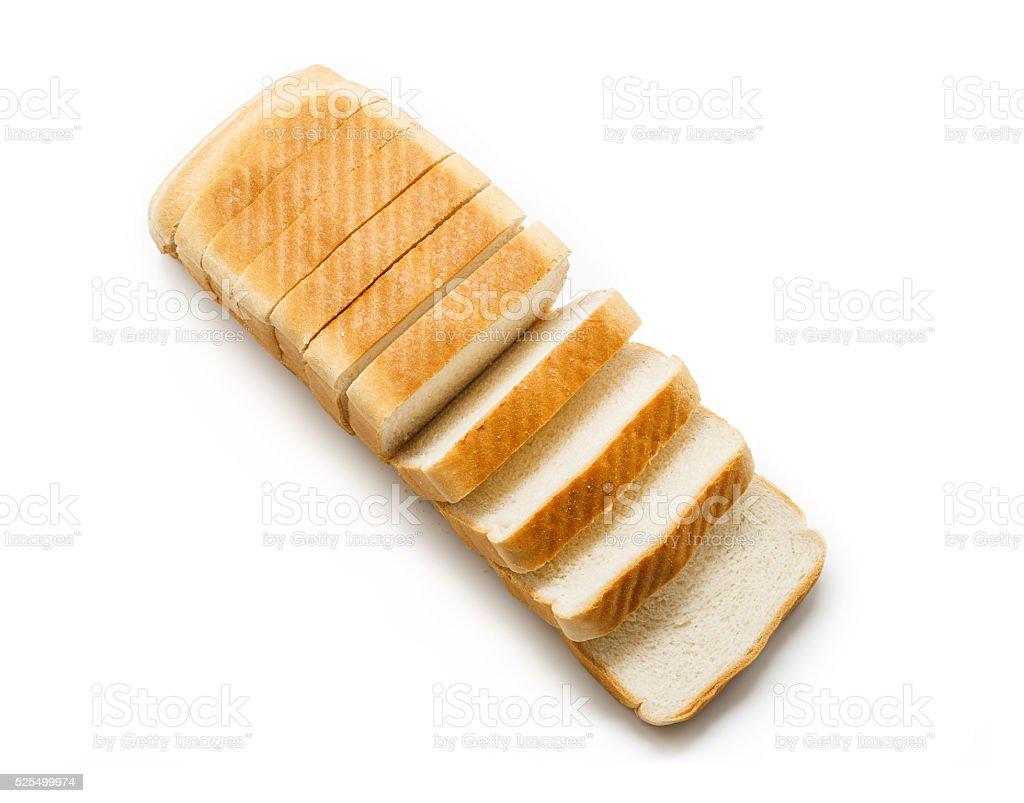 Pão de Forma Fatiado isolado no fundo branco. Vista de cima foto royalty-free