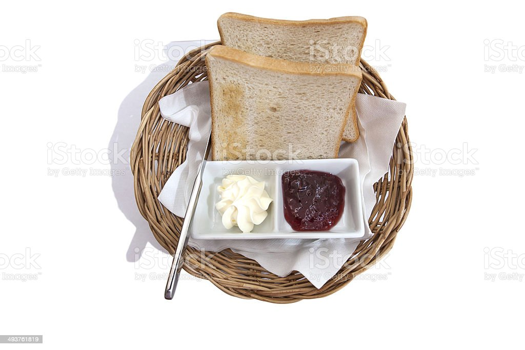 Sliced bread jam and butter silverware. stock photo