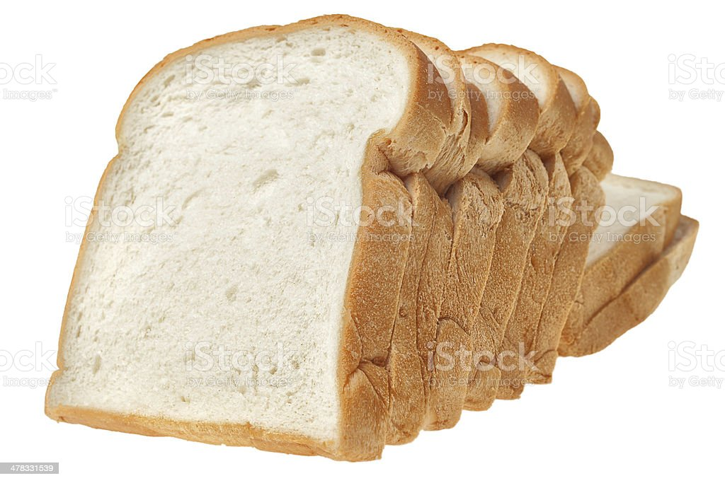 Sliced bread on white background royalty-free stock photo
