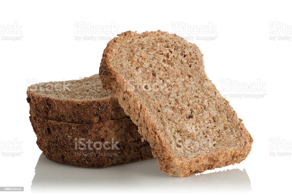 sliced bread, wholemeal, with seeds stock photo