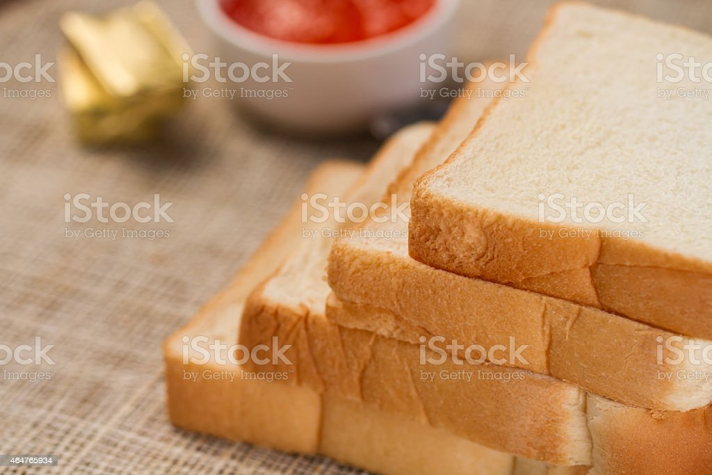 sliced bread with jam and butter royalty-free stock photo