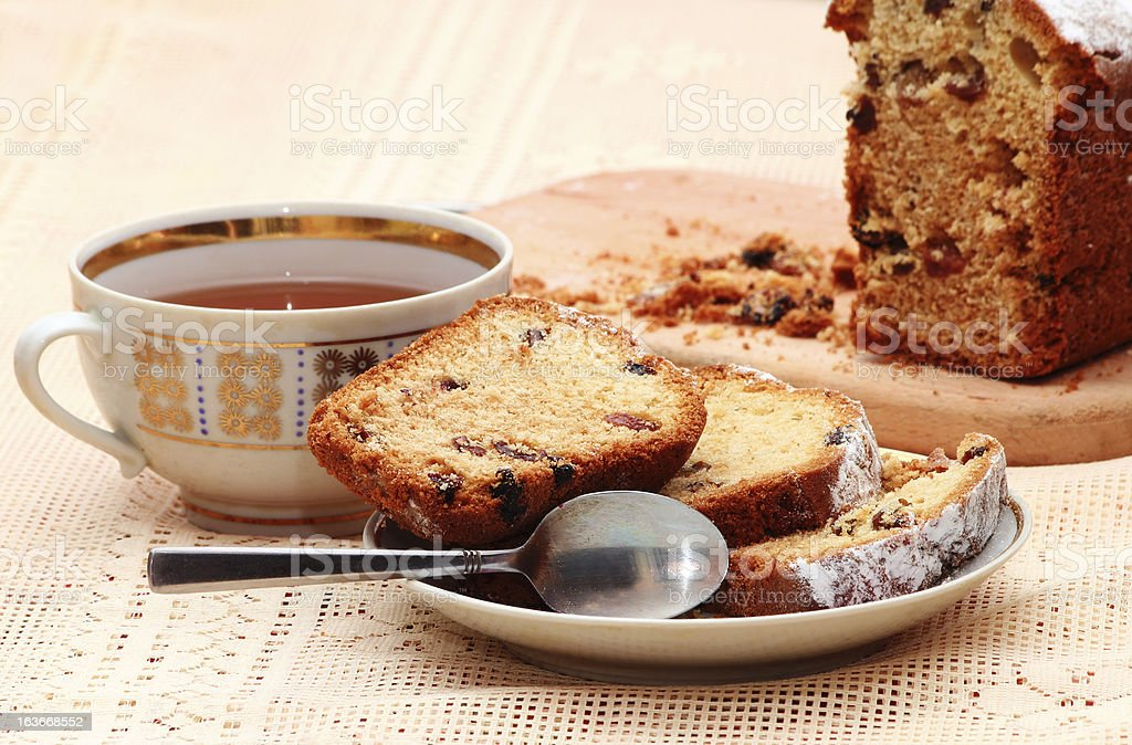 Sliced cake with raisins royalty-free stock photo
