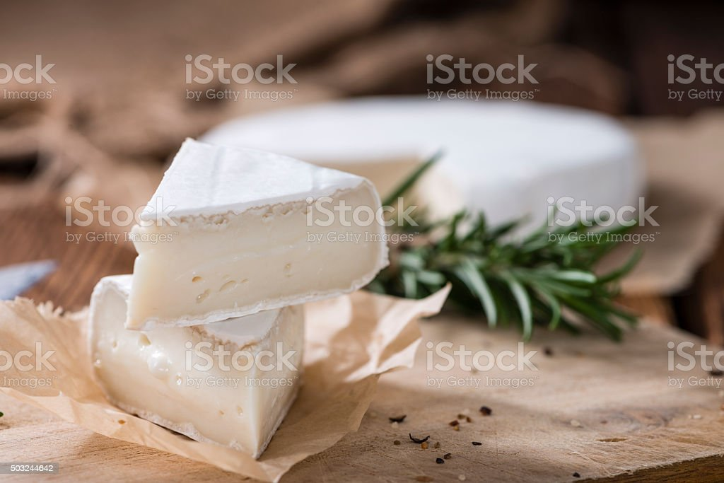 Sliced Camembert stock photo