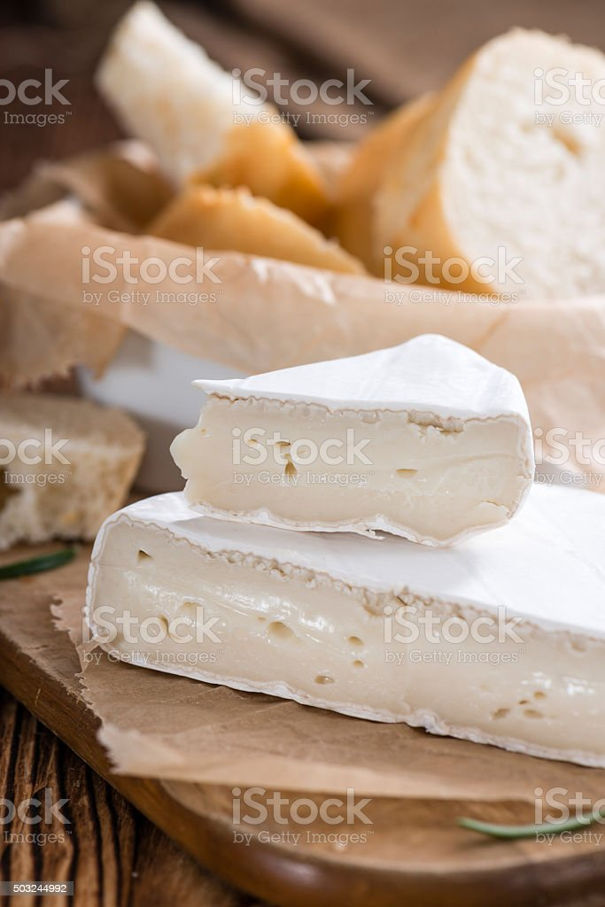 Sliced Camembert stock photo