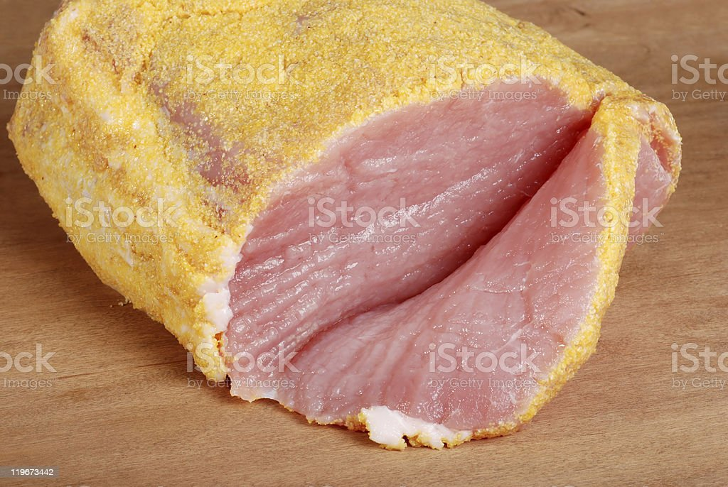sliced canadian peameal bacon stock photo