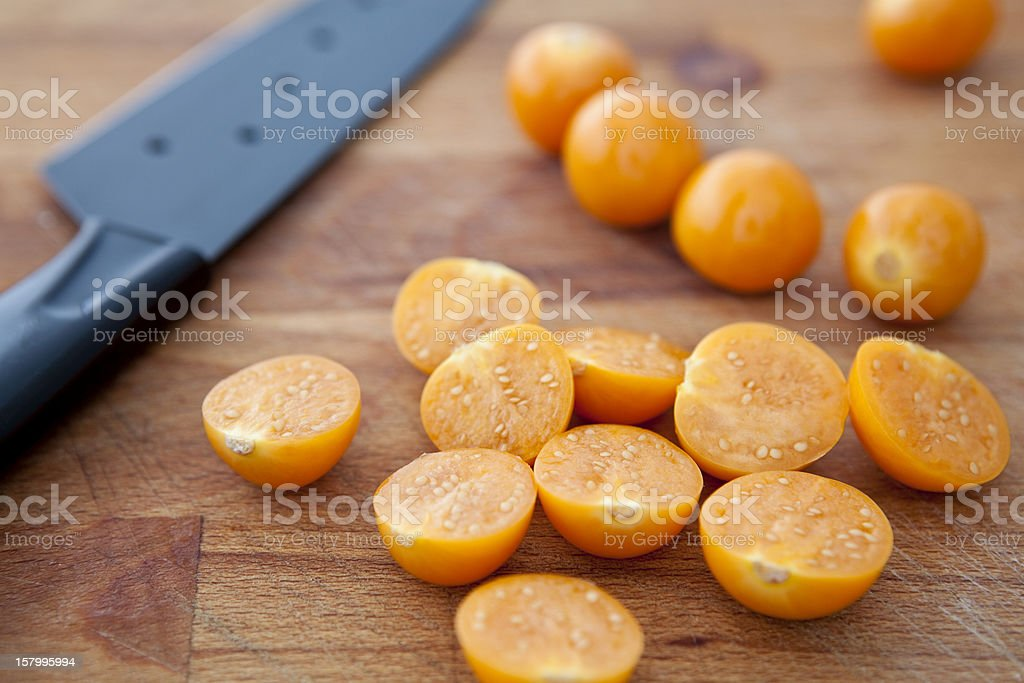 Sliced cape gooseberries. royalty-free stock photo